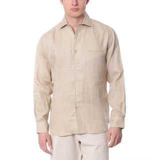 Men's Natural Long Sleeve Linen Shirt