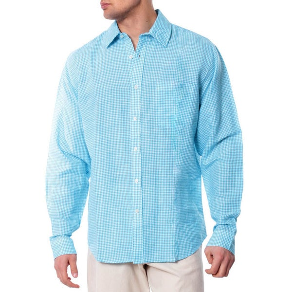 Men's Aqua HiddenButton Linen Shirt