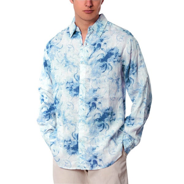 Men's Blue Combo Abstract Linen Shirt