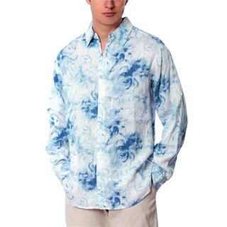 Men's Blue Combo Abstract Linen Shirt
