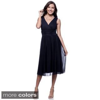 Connected Apparel Women's Ruched Waist Sheer Jersey Dress