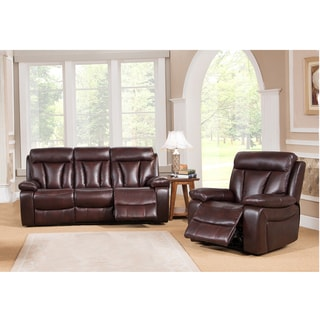 Zenith Brown Top Grain Leather Motorized Lay-flat Reclining Sofa and Recliner