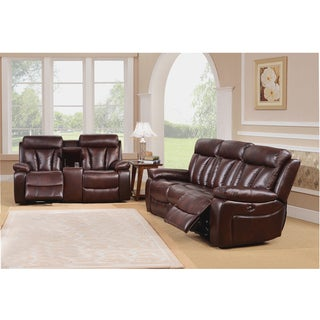 Zenith Brown Top Grain Leather Motorized Lay-flat Reclining Sofa and Loveseat