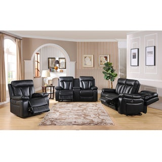 Vedder Black Top Grain Leather Motorized Lay-flat Reclining Sofa, Loveseat and Recliner
