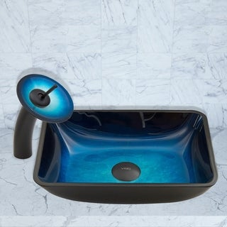 VIGO Rectangular Turquoise Water Glass Vessel Sink and Waterfall Faucet Set in Matte Black Finish