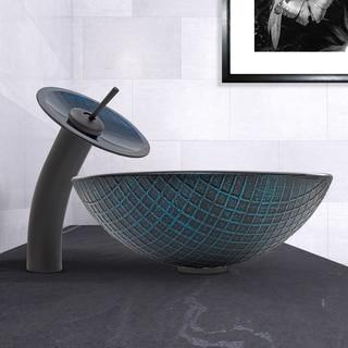 VIGO Blue Matrix Glass Vessel Sink and Waterfall Faucet Set in Matte Black Finish