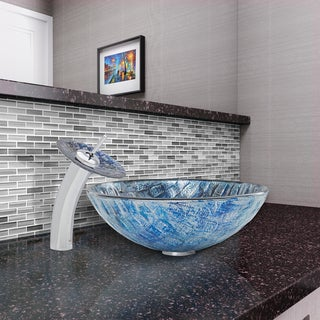 VIGO Rio Glass Vessel Sink and Waterfall Faucet Set in Chrome Finish
