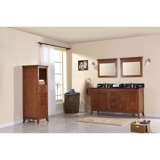 Traditional 60-inch Walnut Double Sink Vanity with Matching Mirrors and Side Cabinet