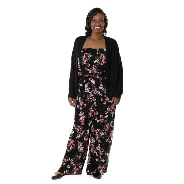 Hadari Women's Plus 2-piece Cardigan Jumper Outfit