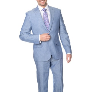 Reflections Men's Blue Slim 2-button Linen Suit