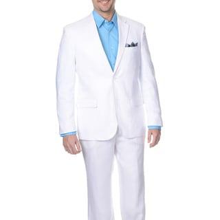 Reflections Men's Slim White 2-button Linen Suit