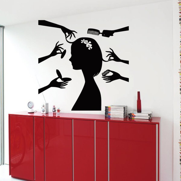 Hair Salon Decor Make Up Hairdressing Sticker Vinyl Wall Art