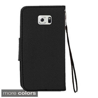 Insten Leather Wallet Flap Pouch Phone Case Cover Lanyard with Stand For Samsung Galaxy S6