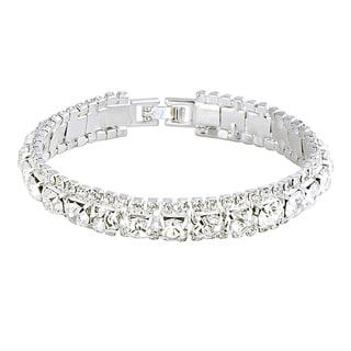 Zodaca Silver Free Size Fashion Woman Crystal Beaded Bracelet
