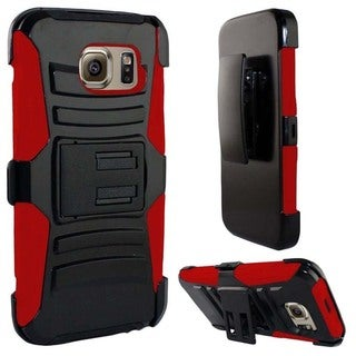 Insten Hard PC/ Silicone Dual Layer Hybrid Phone Case Cover with Holster For Samsung Galaxy S6