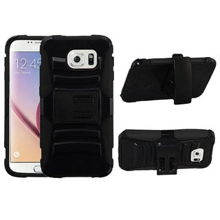 Insten Advanced Armor Hard PC/ Silicone Dual Layer Hybrid Phone Case Cover with Holster For Samsung Galaxy S6