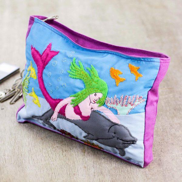 Handcrafted Cotton Applique 'Happy Sea' Cosmetic Bag (Peru)