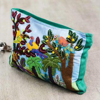 Handcrafted Cotton Applique 'Peruvian Parrots' Cosmetic Bag (Peru)
