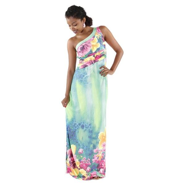Hadari Women's One Shoulder Floral Maxi Dress