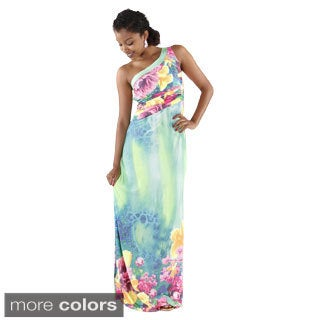 Hadari Women's One Shoulder Floral Maxi Dress
