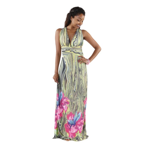 Hadari Women's Open Back V-neck Maxi Dress