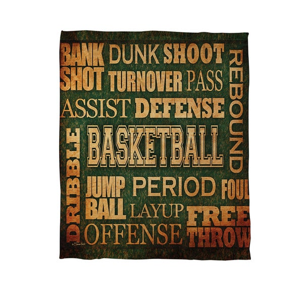 Thumbprintz Basketball Words Coral Fleece Throw