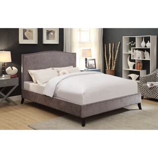 Uptown Plush Queen Platform Stud Detailed Upholstered Fabric Bed
