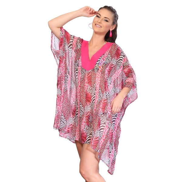 La Leela Sheer Chiffon Pink Animal Print Swim Cover-up Kaftan Tunic