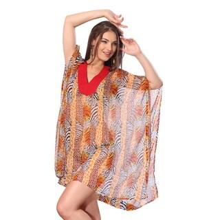 La Leela Sheer Chiffon Orange Animal Print Swim Cover-up Kaftan