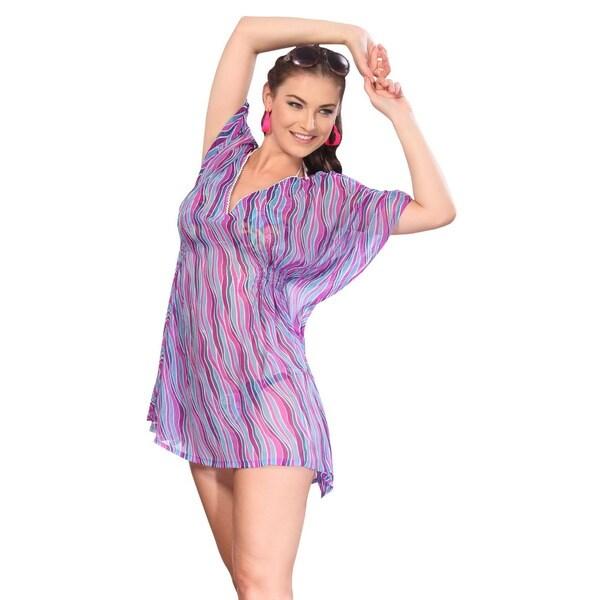 La Leela Wave Purple Printed Designer Swim Tube Cover-up