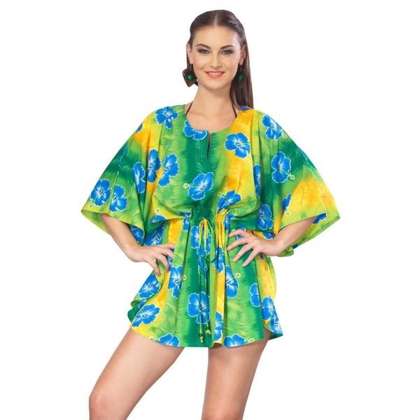 La Leela Likre Green Hibiscus Printed Swim Cover-up Kaftan