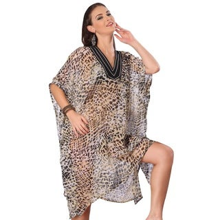 La Leela Sheer Grey Animal Print Swim Cover-up Kaftan Tunic