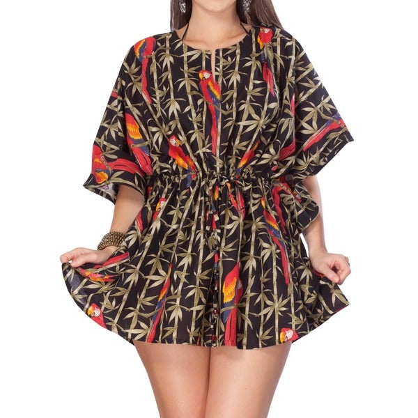 La Leela Parrot Printed Swim Cover-up Cotton Kaftan