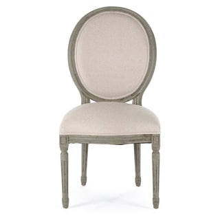 Off-White/ Olive Round Back Medallion Side Chair