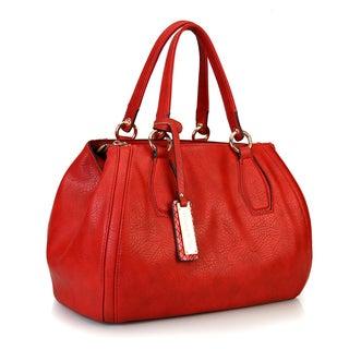 Rimen and Co. Solid Color Gold Hardware Zippered Closure Roomy Interior Shoulder Strap Satchel Handbag
