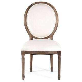 White/ Traditional Oak Round Back Medallion Side Chair