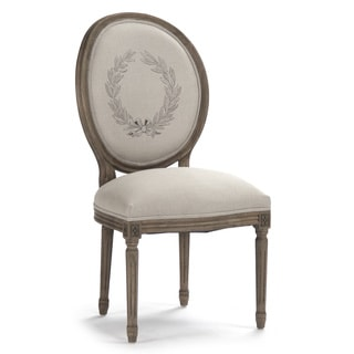 Natural Linen Round Back Medallion Side Chair with Pattern and Recycled Oak