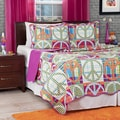 Lavish Home 3-piece Pink Melon Abstract Peace Sign Quilt Set