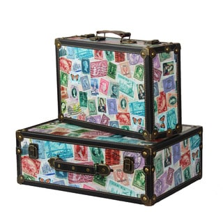 Set of 2 World Stamp Carry-on Travel Suitcases