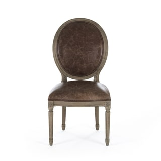 Brown Leather and Recycled Oak Round Back Medallion Side Chair