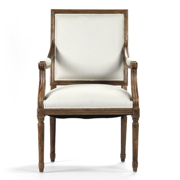 White Cotton and Traditional Oak Square Back Louis Arm Chair