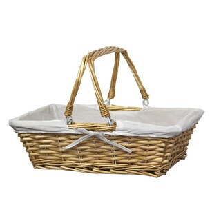 Rectangular Willow Basket with White Fabric Lining