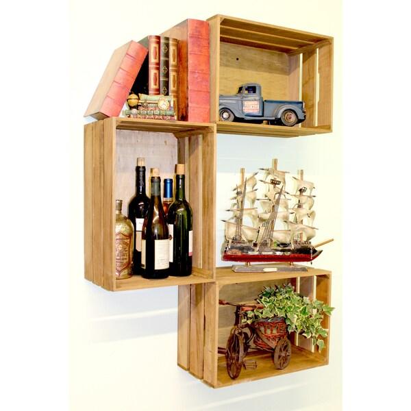 antique style wooden crates set of 3 17231109. Black Bedroom Furniture Sets. Home Design Ideas