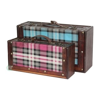 Tartan Blue and Pink Plaid Suitcase Set