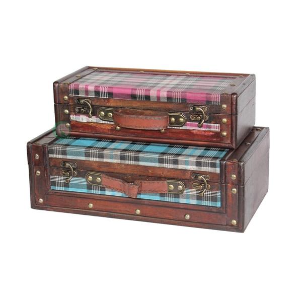 Tartan Blue and Pink Plaid Suitcase Set