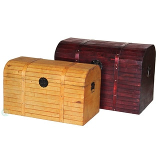 Dark and Light Antique Finished Barn Wood Trunks (Set of 2)