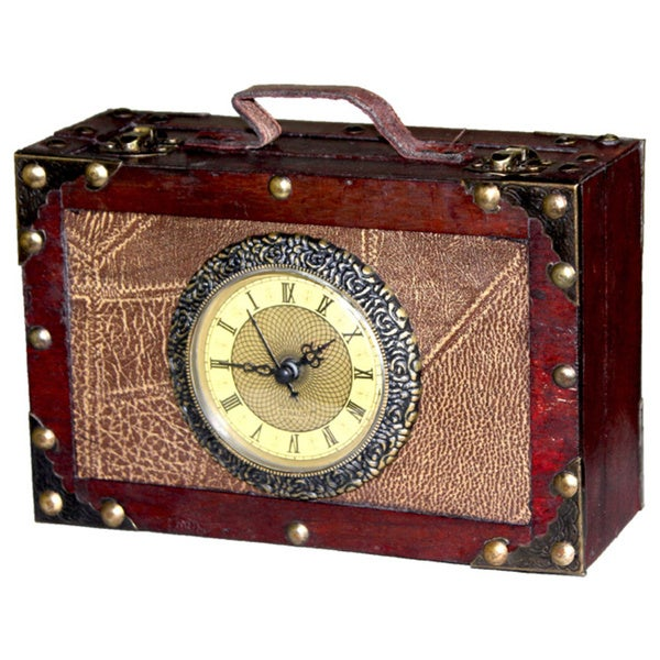 Antique Style Suitcase with Clock
