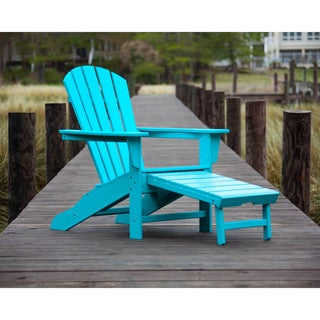 POLYWOOD Palm Coast Outdoor Ultimate Adirondack Chair with Hideaway Ottoman