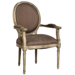 Aubergine Linen and Limed Grey Oak Round Back Medallion Arm Chair