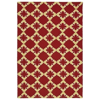 Handmade Indoor/ Outdoor Getaway Red Trellis Rug (8' x 10')